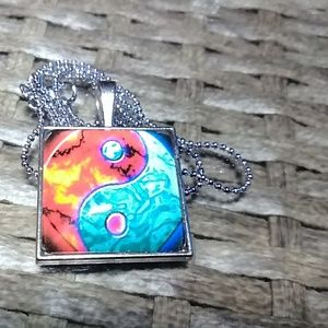 Jewelry - Colorful Yin Yang square glass pendant necklace